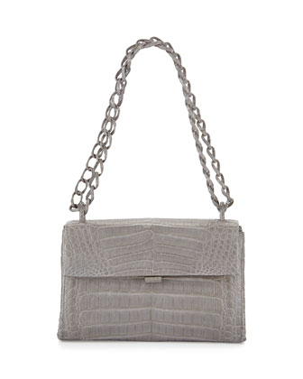 Crocodile Soft Flap Shoulder Bag, Light Gray