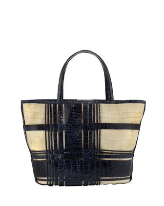Plaid Crocodile/Linen Beach Tote, Blue
