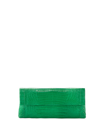 Back-Pocket Crocodile Clutch Bag, Medium Green