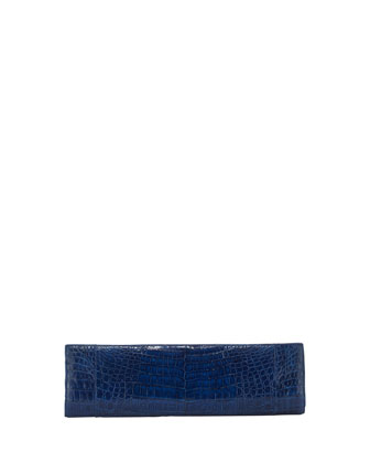 Torpedo Crocodile Clutch Bag, Royal