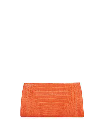 Razor Crocodile Clutch Bag, Orange