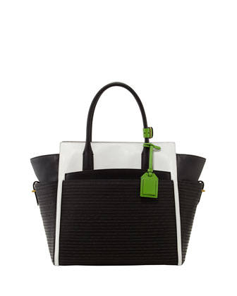 Atlantique Leather and Raffia Tote Bag, Black/white