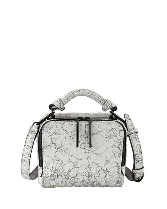 Ryder Small Cracked Leather Crossbody Bag, Black/White