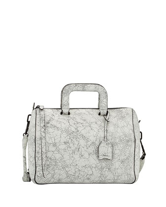 Wednesday Medium Cracked Leather Satchel Bag, Black/White