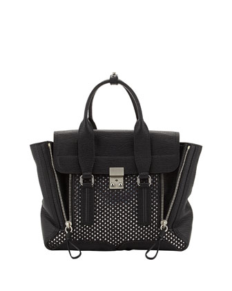 Pashli Medium Woven-Panel Satchel Bag, Silver/Black