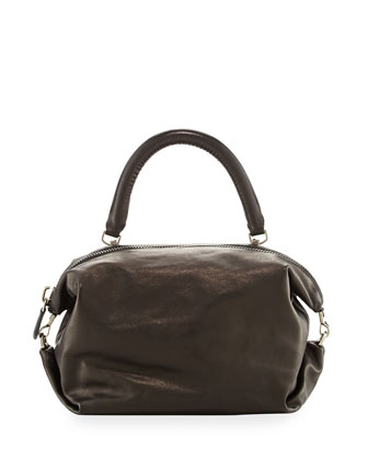 Martin Leather Cube Satchel Bag, Black