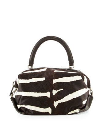 Martin Zebra-Stripe Satchel Bag, Black/White