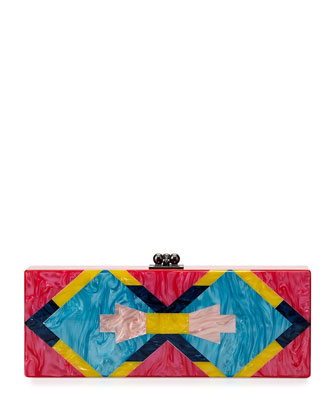 Flavia Tribal Acrylic Clutch Bag, Fuchsia