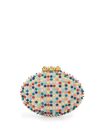 Mina Spiked Box Clutch Bag, Multi