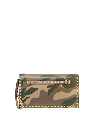 Rockstud Camo Wristlet Clutch Bag, Green
