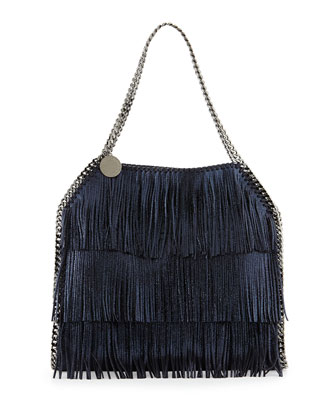 Falabella Small Fringe Tote Bag, Navy