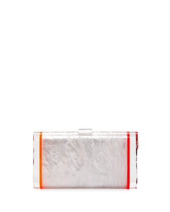 Lara Marbled Backlit Clutch Bag, Cream