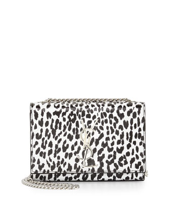 Cassandra Leopard-Print Crossbody Bag, Black/White