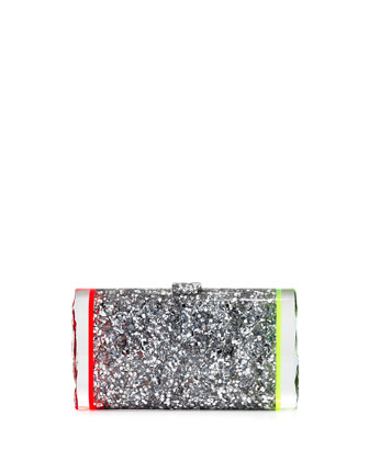 Lara Backlit Confetti Clutch Bag, Metallic Gray