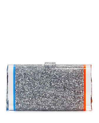 Lara Backlit Confetti Clutch Bag, Clear