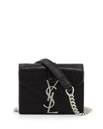 Cassandra Croc-Embossed Candy Crossbody Bag, Black