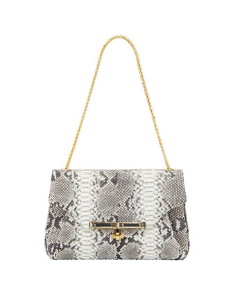 Urbana Giant Python Shoulder Bag, Neutral