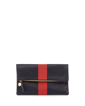Single-Stripe Fold-Over Clutch Bag, Navy/Red