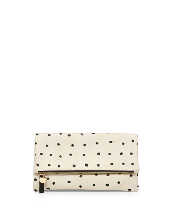 Mini-Spot Fold-Over Clutch Bag, White/Black