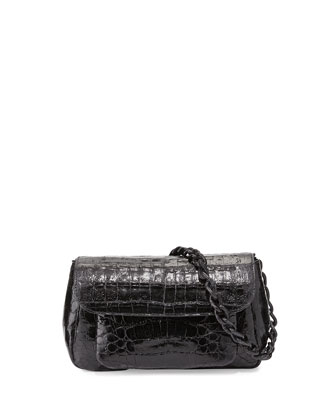 Triple-Gusset Crocodile Crossbody Bag, Black