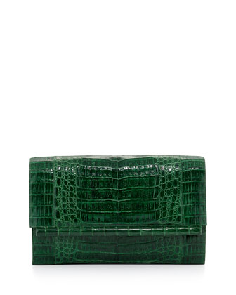Large Crocodile Bar Clutch Bag, Green