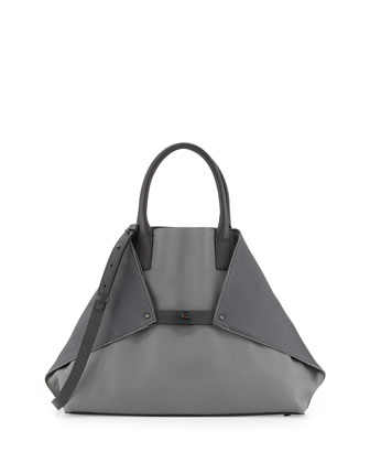 Ai Medium Bicolor Cervo Tote Bag, Gray