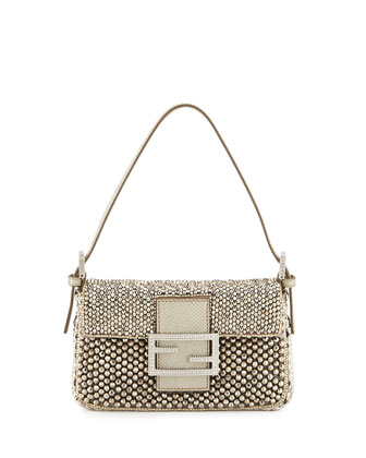 Baguette Metallic Beaded Mini Bag, Gray