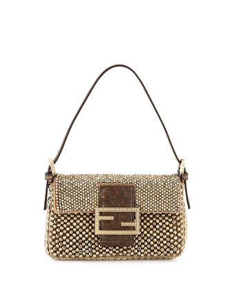 Baguette Metallic Beaded Mini Bag, Gold