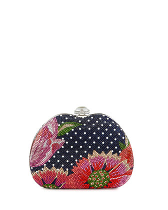 Curved Dot/Flower Crystal Clutch Bag, Blue