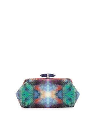 Whitman Pixelated Python Clutch Bag, Green