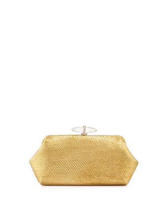Whitman Metallic Python Clutch Bag, Gold