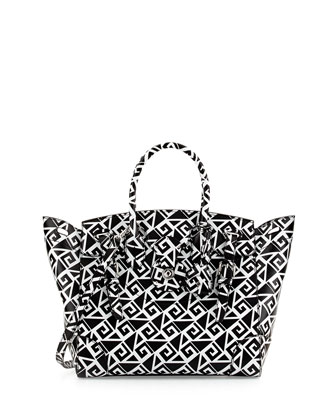 Soft Ricky 33 Medium Printed Satchel Bag, Black/White