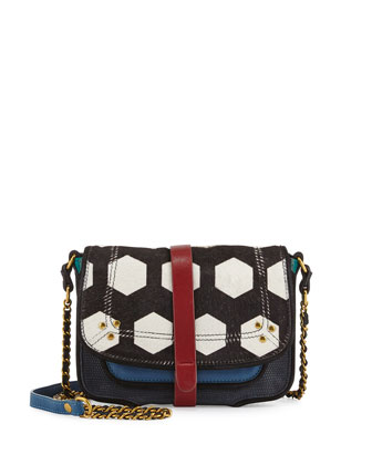 Jojo Mixed-Media Crossbody Bag, Blue Caviar