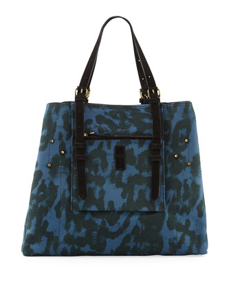 Pat Leopard-Print Canvas Tote Bag