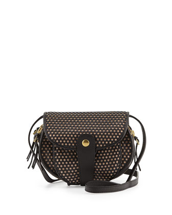 Momo Perforated Crossbody Bag, Navy