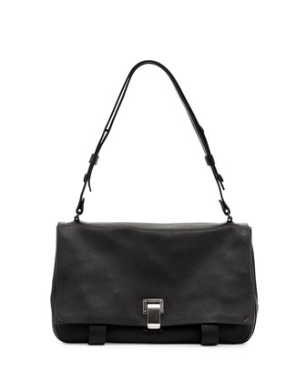 PS Courier Small Leather Shoulder Bag, Black