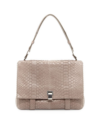 PS Courier Large Python Shoulder Bag, Gray