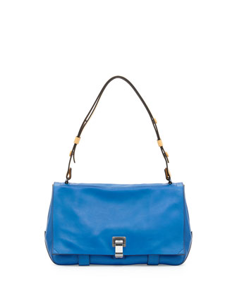PS Courier Small Leather Shoulder Bag, Blue