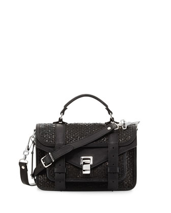 PS1 Tiny Woven Satchel Bag, Black