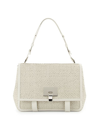 PS Courier Large Woven Shoulder Bag, White