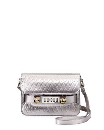 PS11 Embossed Mini Classic Shoulder Bag, Silver