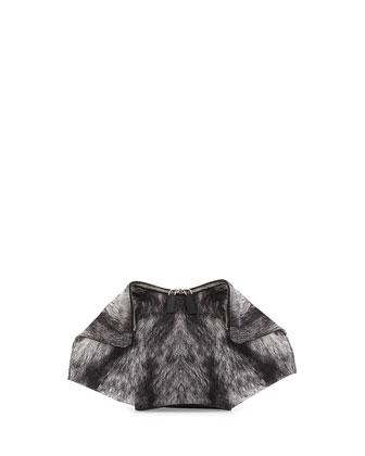 De-Manta Fur-Print Clutch Bag
