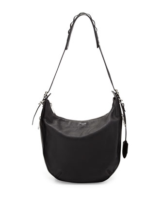 Bradbury Pebbled Leather Hobo Bag, Black