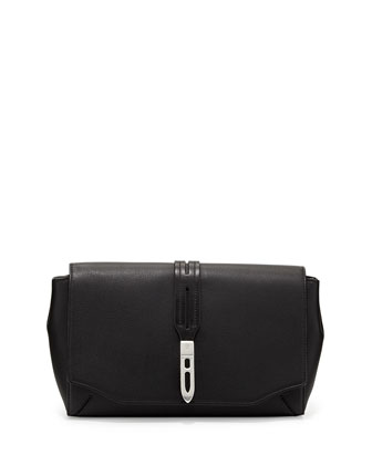 Enfield Soft Leather Flap-Top Clutch Bag, Black