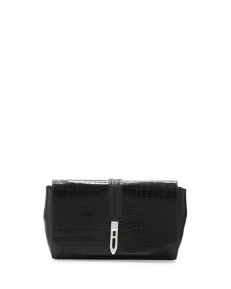 Enfield Croc-Embossed Clutch Bag, Black