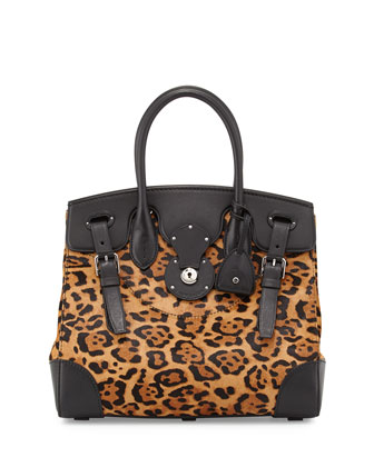 Soft Ricky 33 Leopard-Print Calf Hair Satchel Bag, Brown