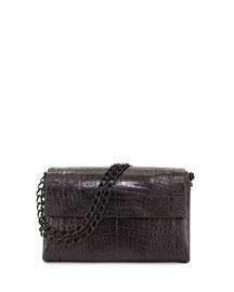 Large Crocodile Double-Chain Shoulder Bag, Black