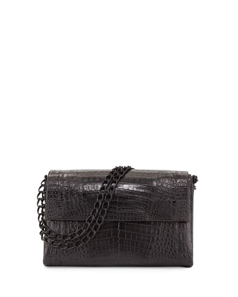 Large Crocodile Double-Chain Shoulder Bag, Black