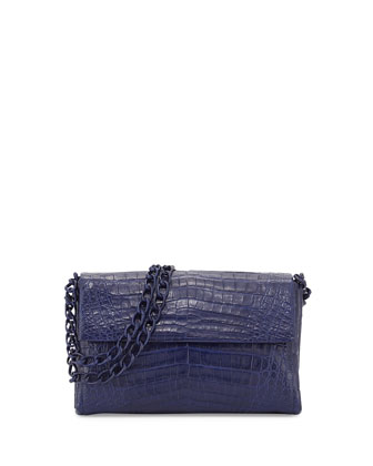 Medium Crocodile Double-Chain Shoulder Bag, Navy