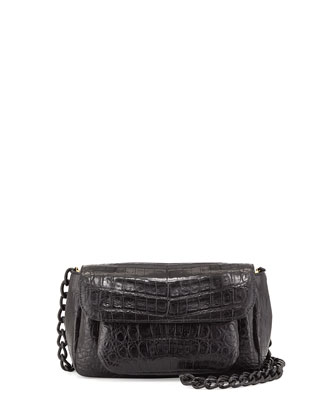 Triple-Gusset Small Crocodile Crossbody Bag, Black